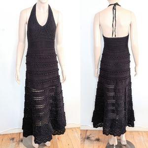 Moda International Crochet Halter Maxi Dress Med